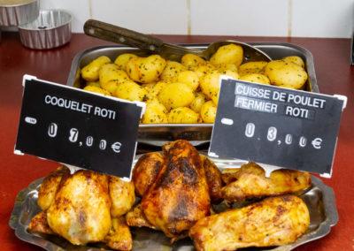 Coquelet rôti et cuisse de poulet fermier rôti de la boucherie Abbaye
